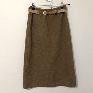Le Chateau Midi Skirt With Belt Size 1
